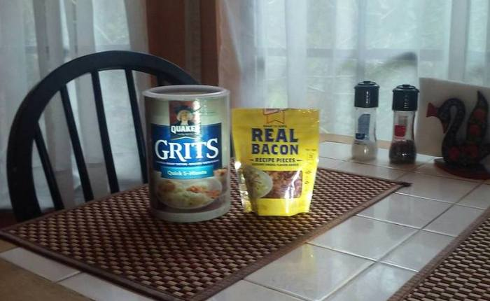 Grits and Bacon Bits! A Marriage Made in Heaven!